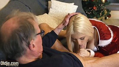 Lustful snow maiden spoils neighbor's grandfather, sex in the New year