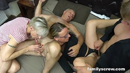 Two Mature ladies to have sex with the old man and his friend in a group porn