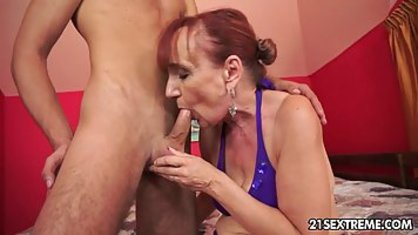 A young boy is trying to satisfy a Blowjob, and vaginal sex with a Mature lady